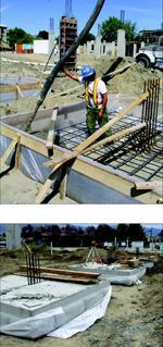 Above: Framework for the fabric forms had to be braced well to handle the lateral loads. Below: The pads were easily stripped, since the fabric prevents any contact between the concrete and the lumber.