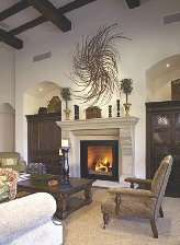 Fire is lit up in the fireplace as seen in the living room --- Image by � Royalty-Free/Corbis