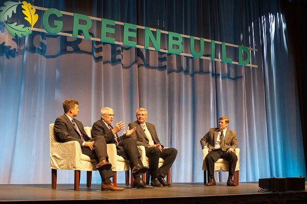 "The Rush to Resilience panelists urged the audience to become ""owners,"" not ""renters"" in their communities. To convince business and political leaders to prepare for resiliency pre-disaster, they recommended presenting it as a business case: Resilient communities attract residents, which in turn attract businesses and investment, and so on. From left to right: Jon Powers, White House Council on Environmental Quality; Maj. Gen. Warren Edwards, Community and Regional Research Institute; Mayor Bob Dixson, Greensburg, Kan.; moderator Jay Carson, C-40 Cities Climate Leadership Group"