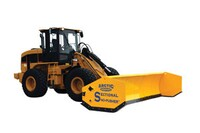 Snow pushers for heavy equipment