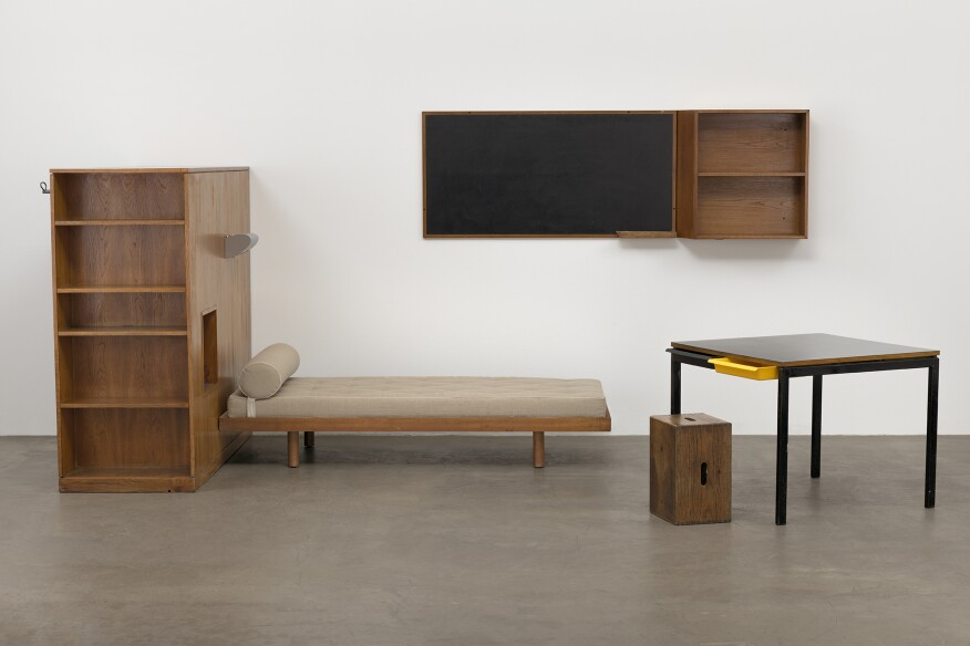 Dormitory furnishings from 1959 installed in Paris' Maison du Brésil, designed by Charlotte Perriand.