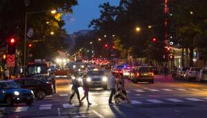 WASHINGTON, DC - JULY 18:Pedestrians cross 14th Street NW at Rhode Island Ave. on July 18, 2013 in Washington, D.C. (Photo by Ricky Carioti/The Washington Post)