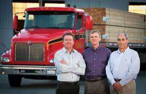 ANAHEIM'S ANGELS: Mark Ganahl (left) took over recently as manager of Ganahl Lumber's flagship Anaheim, Calif., yard. He succeeds Jim Taft (center), who retired in December after four decades with the company. Another relatively new face in Anaheim is Pete Meichtry (right), VP for merchandising, purchasing, and advertising. He's the first executive Ganahl recruited from outside in decades.