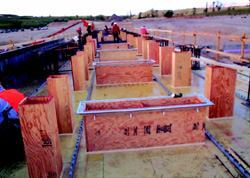 """The """"tabletop"""" slab formwork required numerous penetrations."""