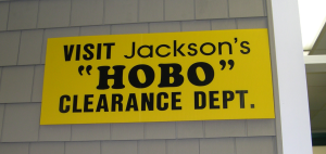 "The ""HOBO"" clearance section of Jackson Lumber, Lawrence, Mass."