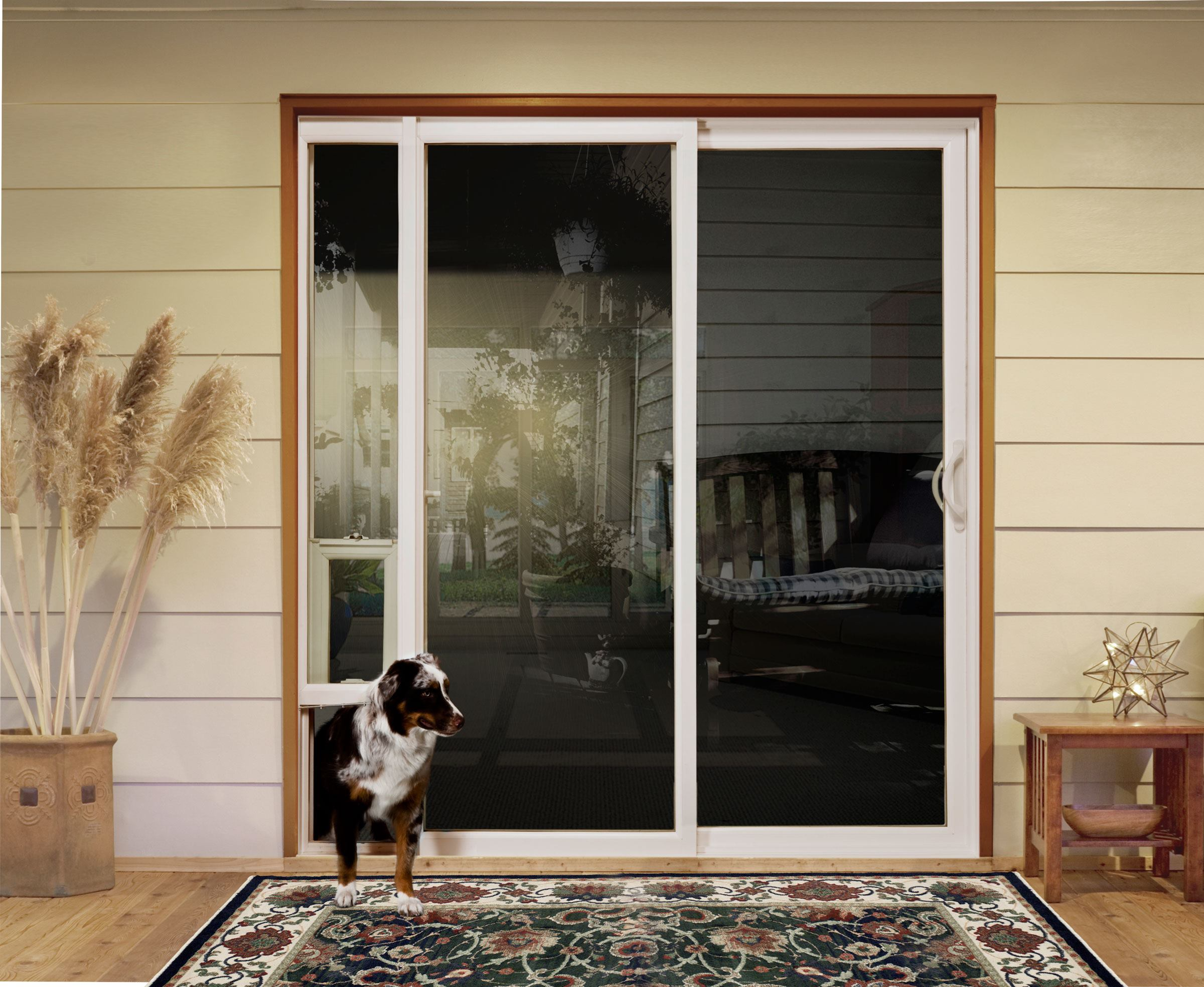 Sliding doors with pet access custom home magazine for Dog door size by breed