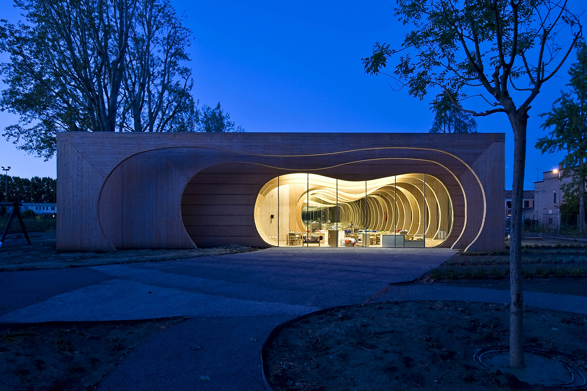 Guastalla school portal frame section architect magazine Wood architecture definition