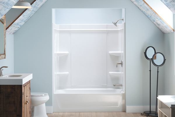Sterling Offers A Caulk Free Shower Installation Builder Magazine Shower Products Bath