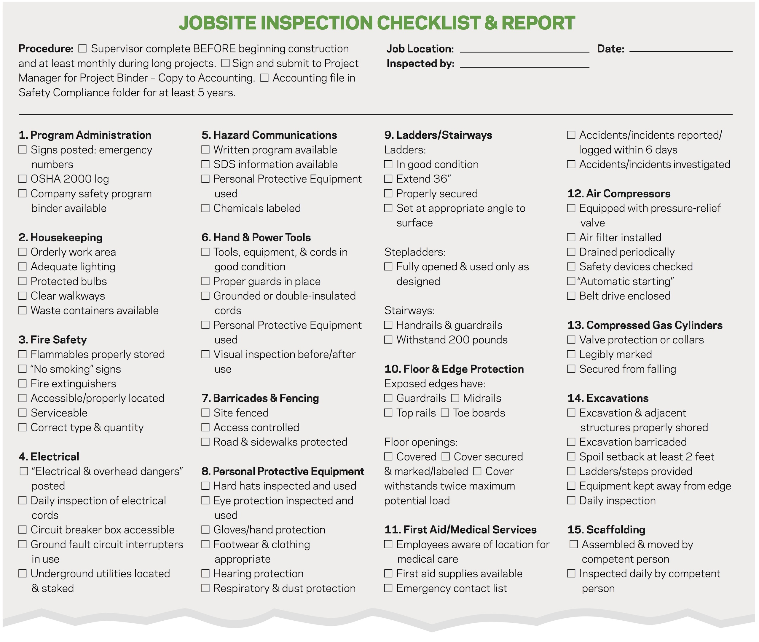 Good form jobsite safety checklist remodeling workers for Construction finishing checklist