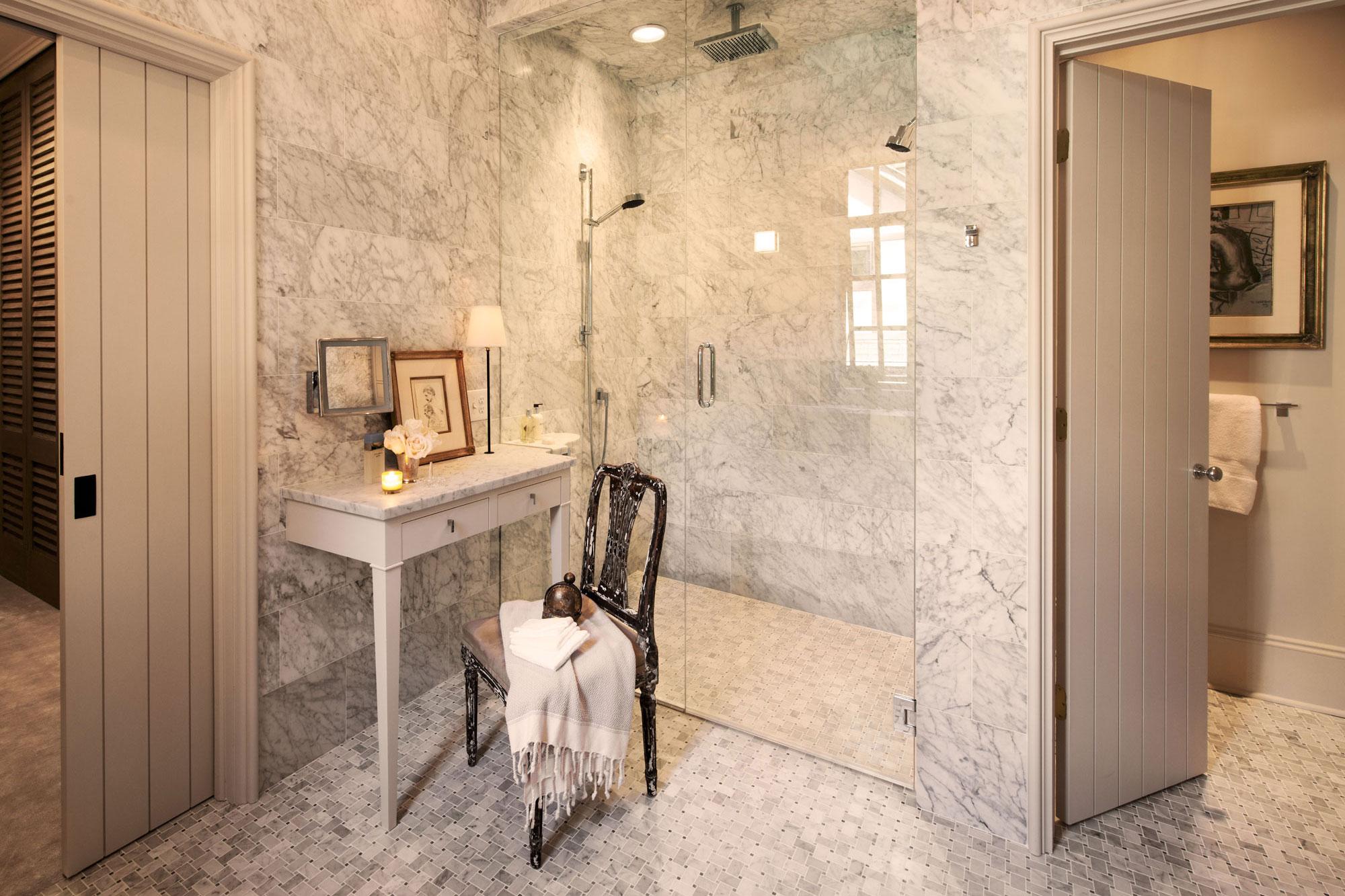 Elegant marble bath remodel shines remodeling awards for Bathroom design awards 2013