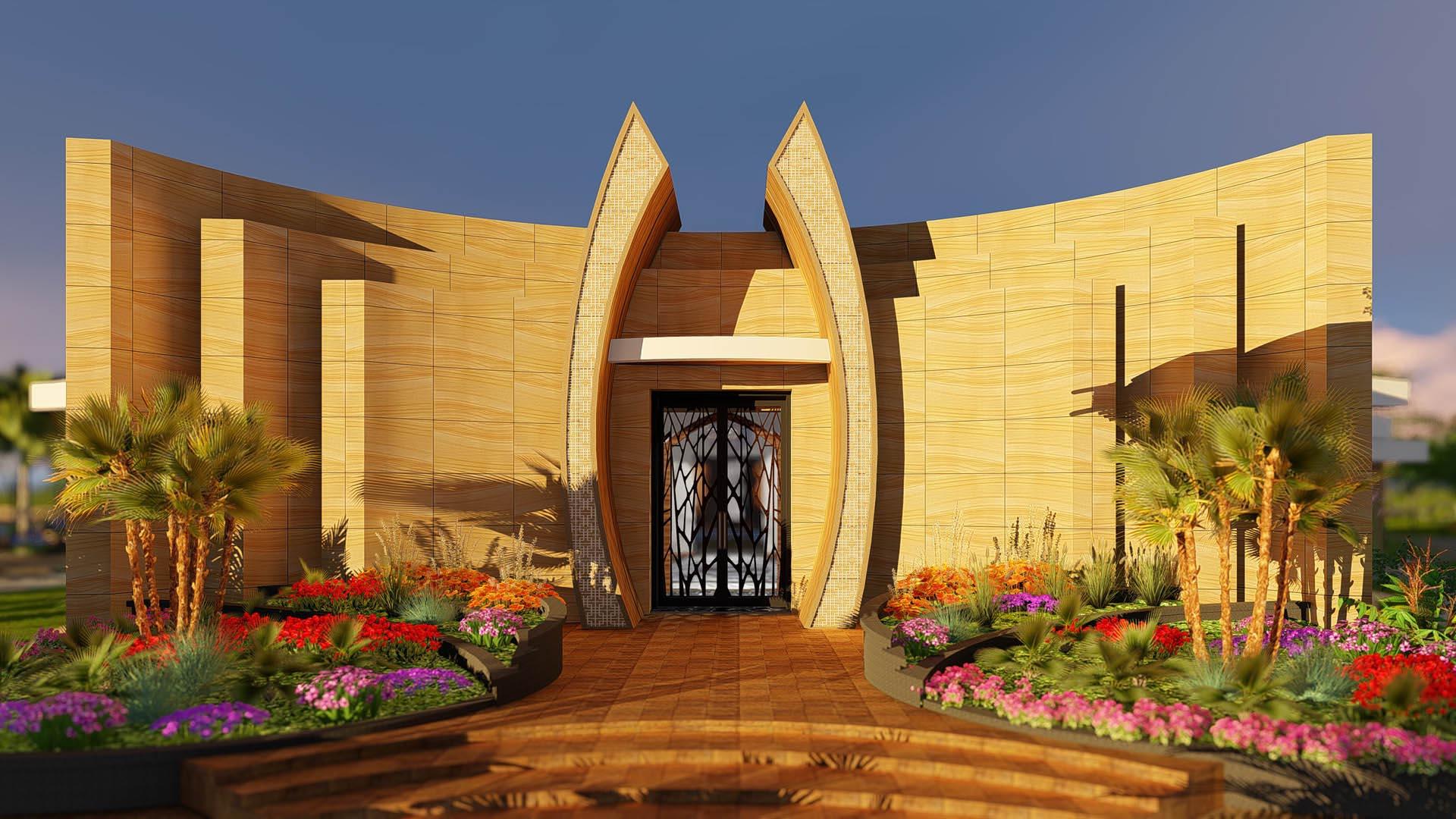 Serene desert spa villa w indoor pool 6br gym majlis for Modern view decking