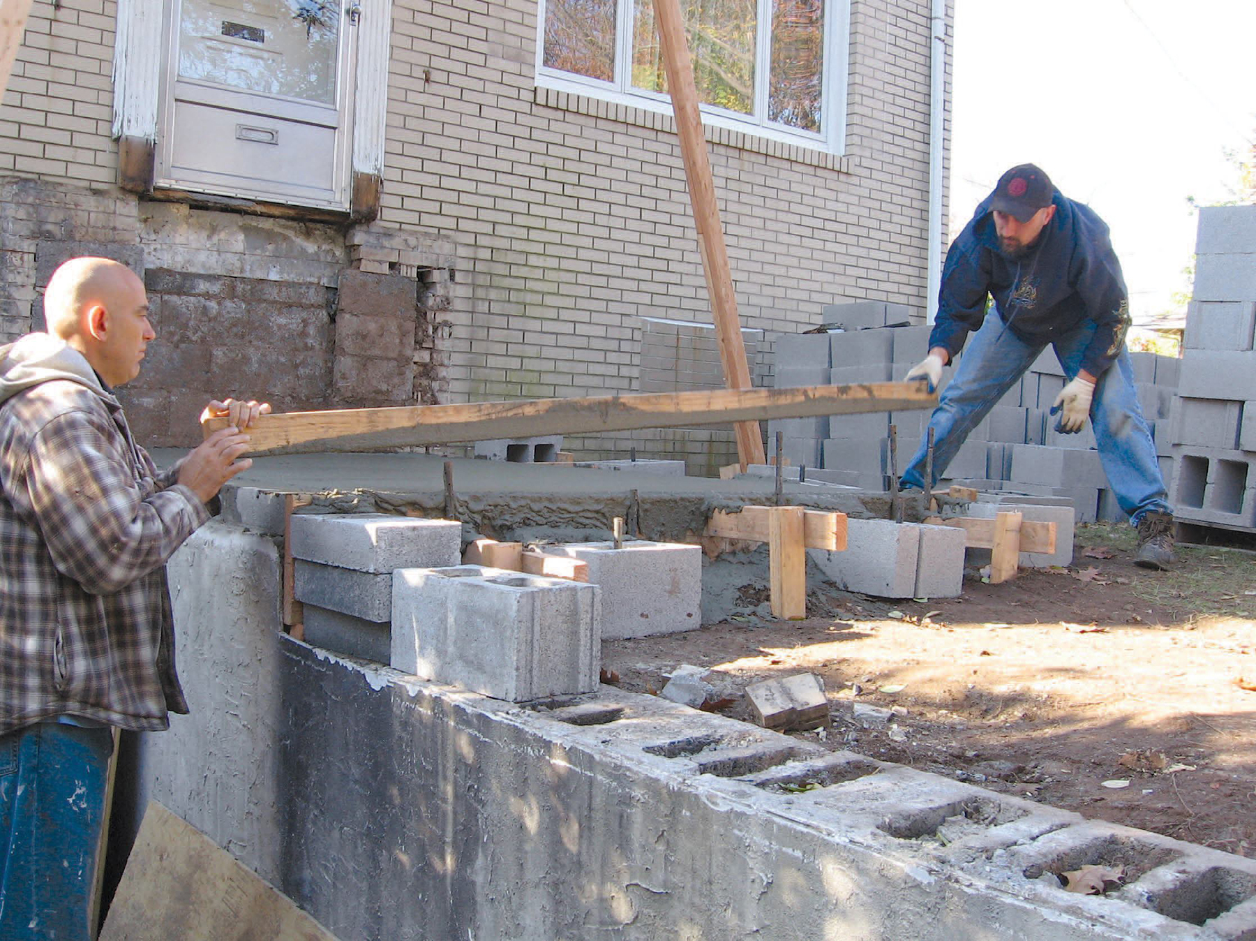 Concrete block in foundation construction 76