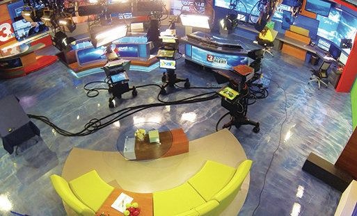 Tv Studio Gets Metallic Expoxy Floor Concrete