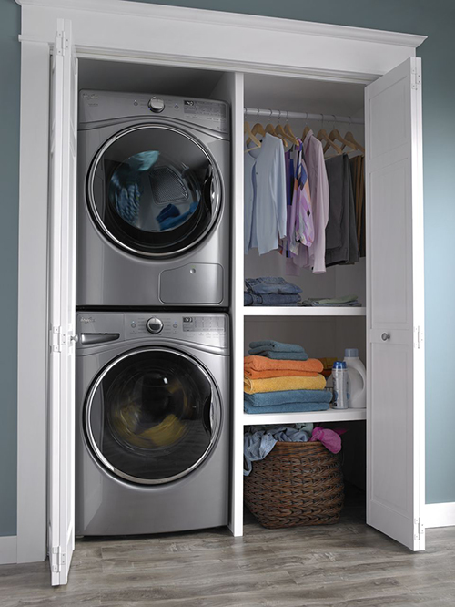 Stacked Washer Dryer Laundry Room Small