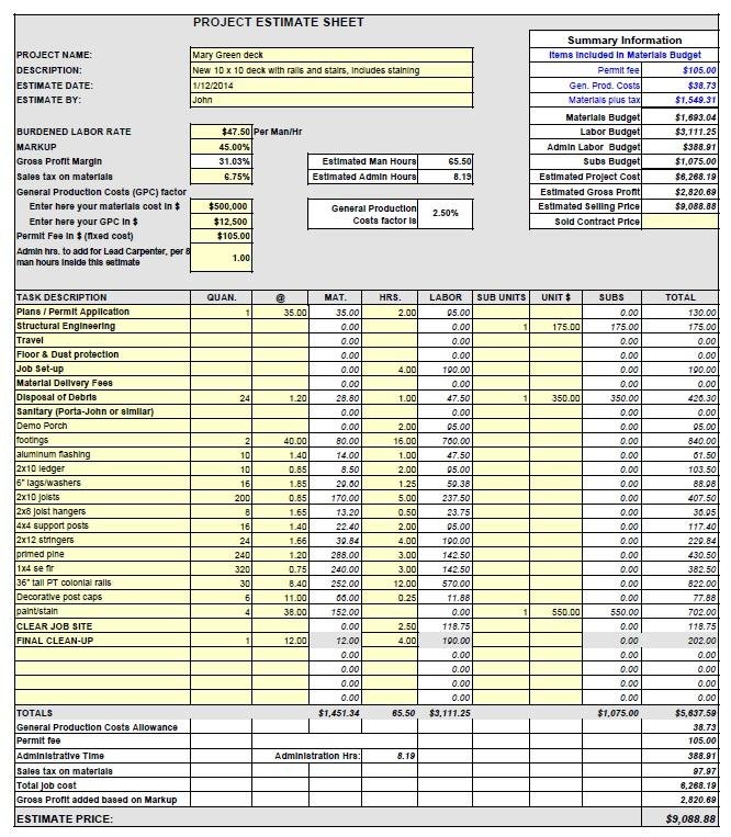 estimate sheets for contractors