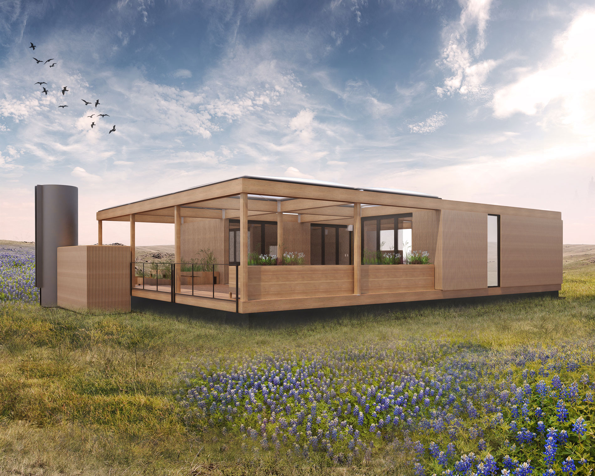 Texas modular home will run on rainwater and sunshine for Modern home builder magazine
