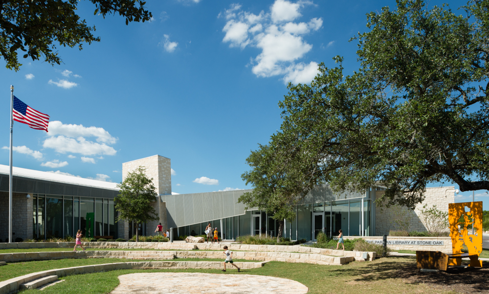 Stone Oak Elevation : Parman library at stone oak architect magazine marmon