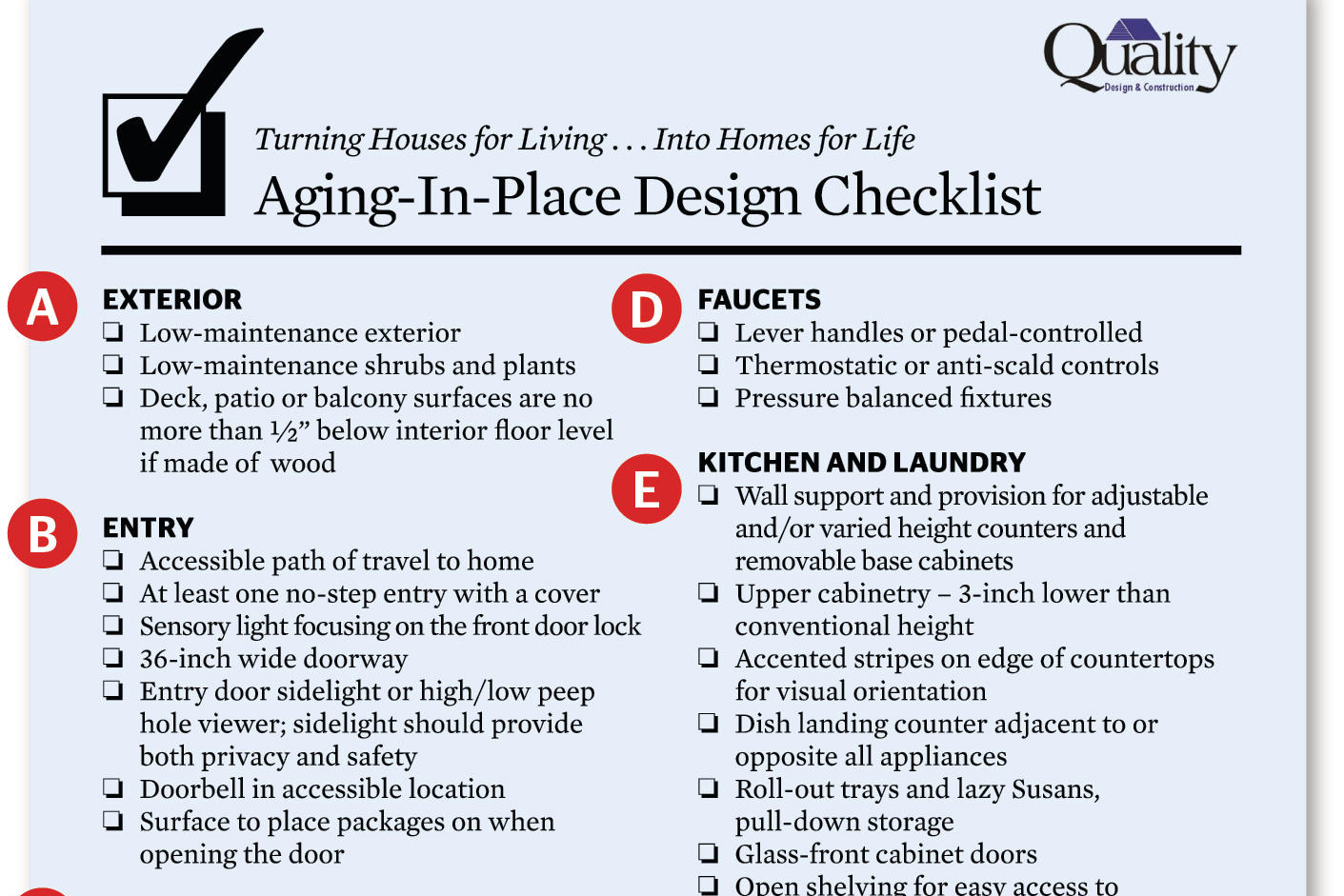 Stay right there universal design checklist remodeling for Home design checklist