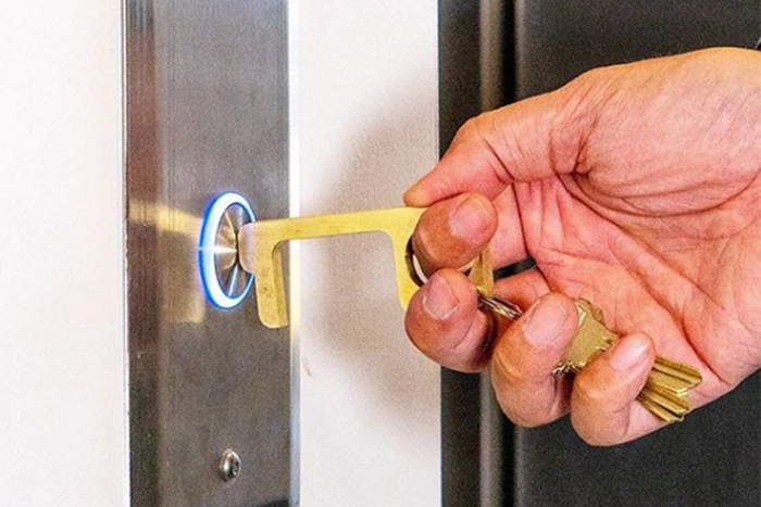 /& Pull Objects Device Antimicrobial and Anti-Virus Brass Tool COVID Push Buttons Door Opener BoardMAN Innovations