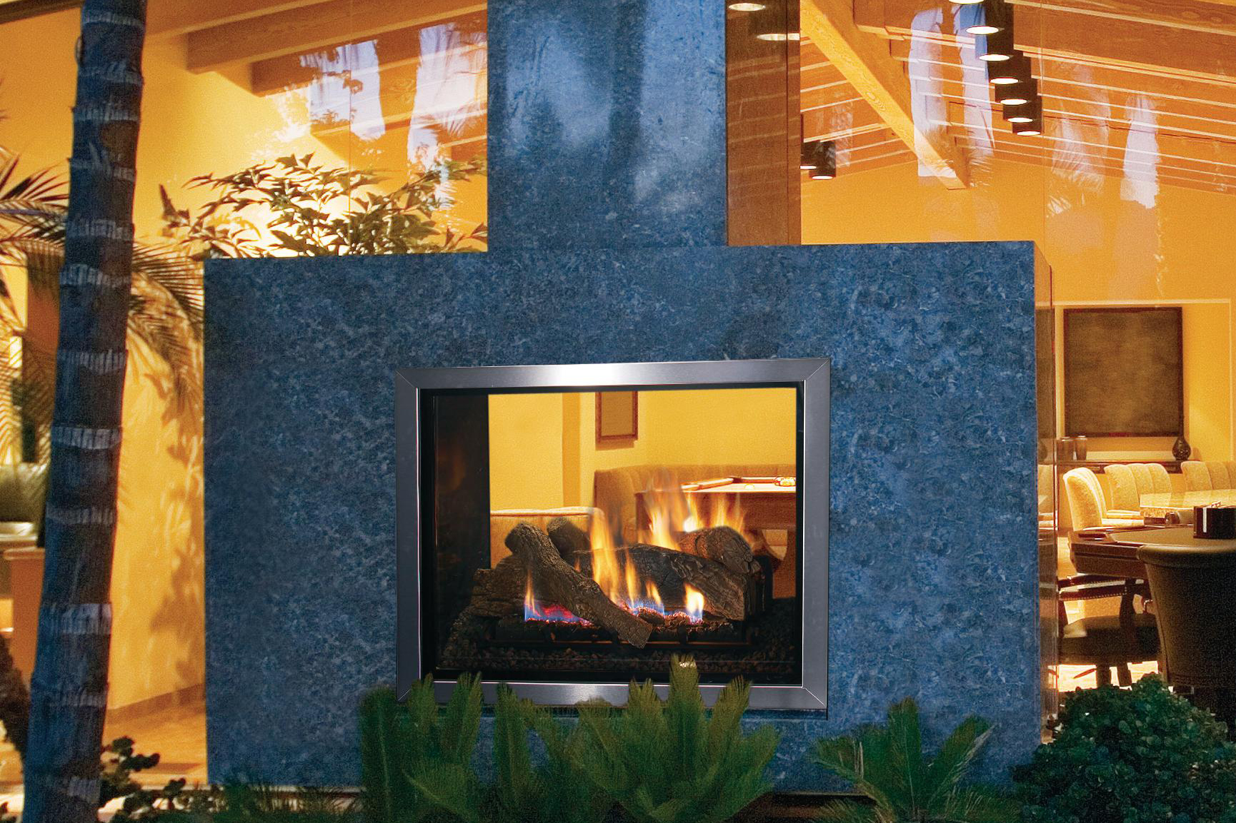 Double duty lennox montebello indoor outdoor gas for Inside outside fireplace
