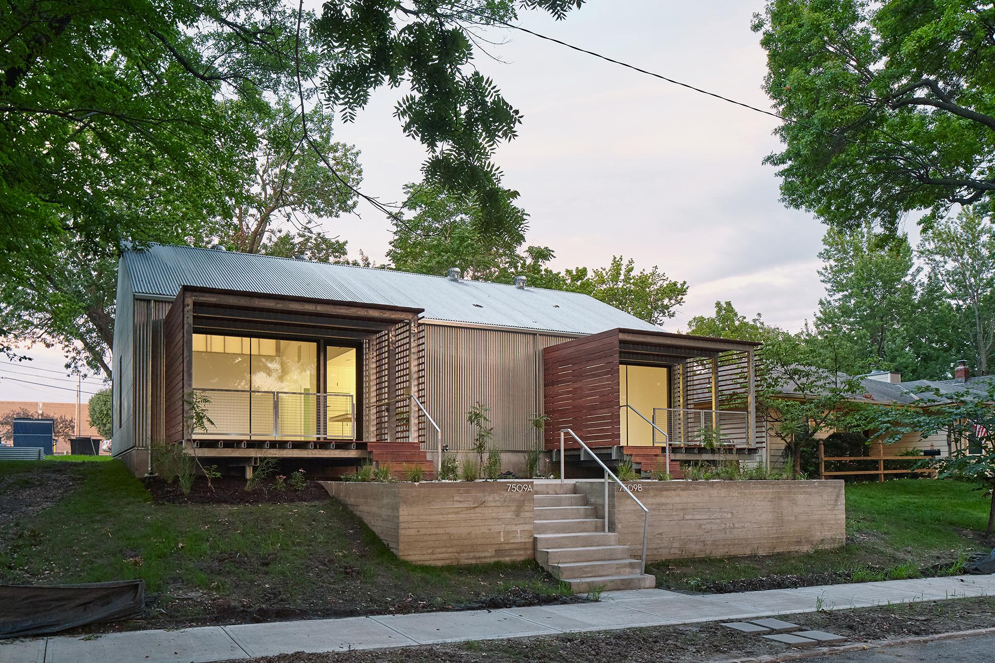 Waldo duplex architect magazine ksu design make studio for Duplex project homes