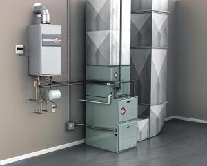 achieve home heating and hot water from a single source with the integrated hvac water heating system powered by tankless technology - Home Heating Systems