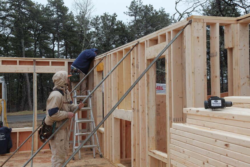 Building and raising exterior walls jlc online framing for Exterior wall sheeting