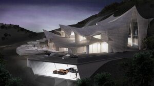 The Print House design has roof peaks mirroring the rolling hills of Malibu and to benefit from sun paths and methods of water collection.
