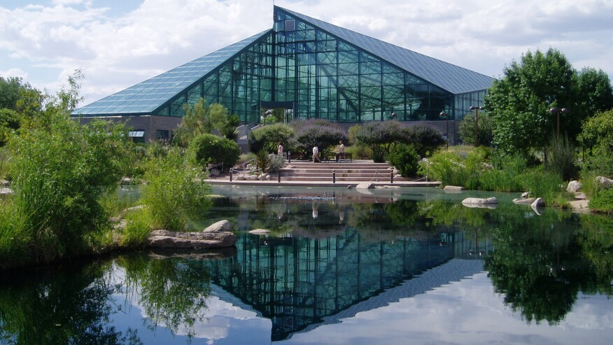 """The Rio Grande Botanic Garden Conservatory, in Albuquerque, N.M., uses solar design strategies to simulate desert and Mediterranean climates """"passively"""" in an all-glass building."""