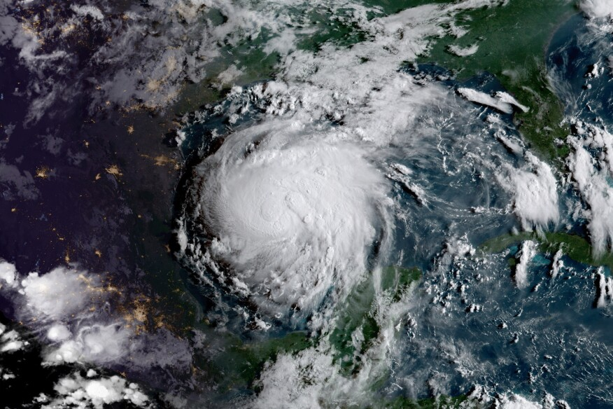 Aerial view of Hurricane Harvey on Aug. 24.