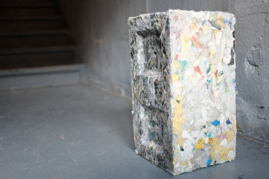 Building blocks made from waste plastic ecobuilding pulse for House made by waste material