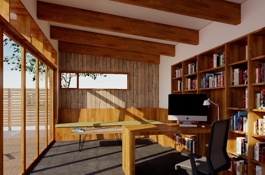 Backyard office architect magazine grove architecture for Building a home office in backyard