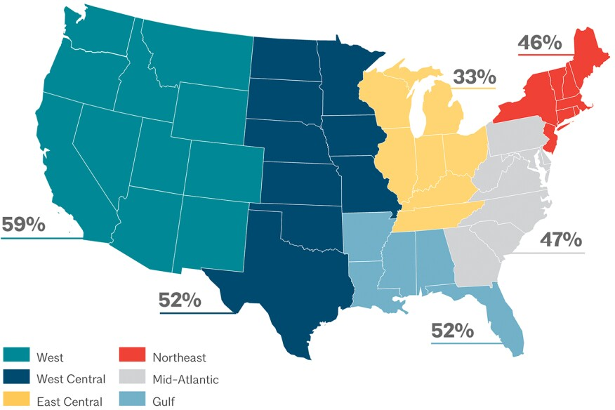 Percent of architecture students of color in each U.S. region. Sources: NAAB and KFF.org