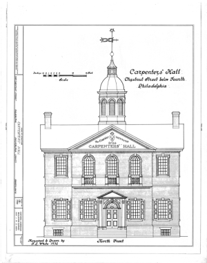At the founding of the U.S., working in the building trades did did not carry the same social stigma that today tends to scare away many younger people from pursuing a career in the trades. Quite the opposite: The ethos of our industry is defined by the Carpenters' Company , the oldest trade guild in the U.S., which held their first meetings in Carpenter's Hall in Philadelphia (shown above). Designed by Robert Smith, a prominent member of the guild, and sited a few hundred feet from Benjamin Franklin's home, Carpenter's Hall, and its namesake, sat at the very heart of government and industry. The building served as the site of the first Continental Congress, and as the First and Second Banks of the United States, and the members of the Carpenters' Company who erected it also designed and built Independence Hall. In short, carpenter's held preeminent status in the social fabric of our fledgling nation. (elevation drawing: Historic American Buildings Survey)