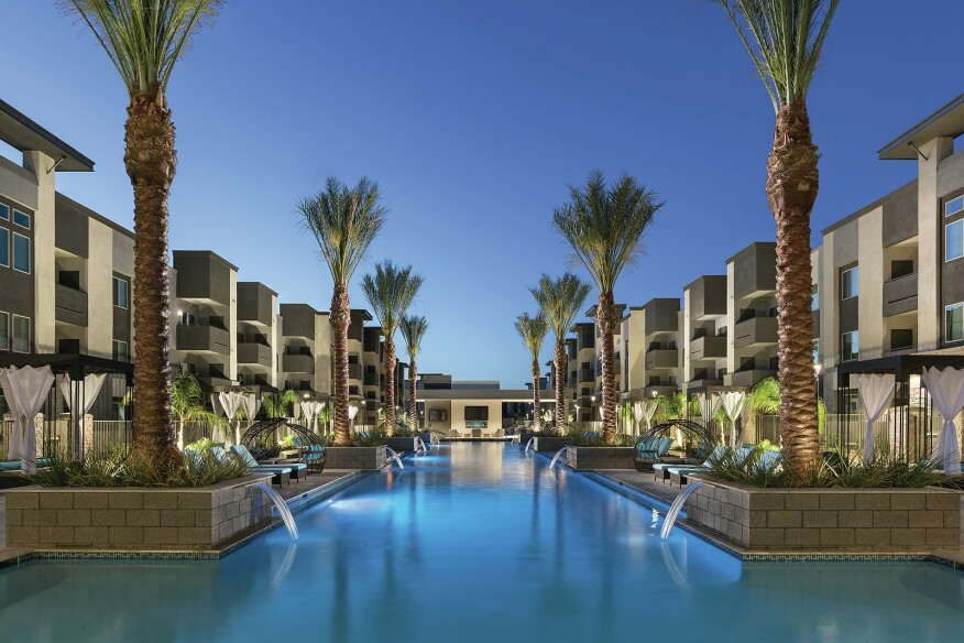 The suburban luxury Aviva apartments in Mesa, Ariz., are packed with amenities for downsizing boomers and millennials coming for tech jobs. Features include one of Arizona's largest pools.