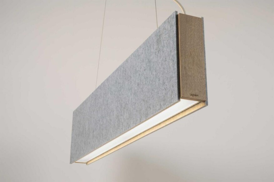 Static lightart • the linear light source of this direct indirect luminaire is narrowly suspended between two pet felt panels leaving a layer of air in