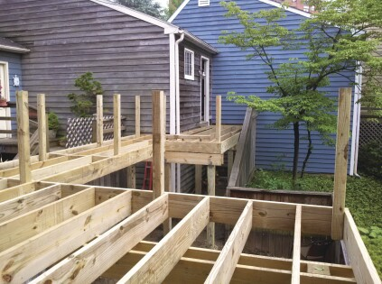 Tacking guard posts in place as the deck is framed ...