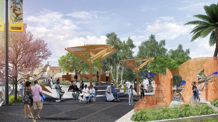 At 54th Street and Crenshaw Boulevard, two pocket parks will anchor the southern corners of the intersection and serve as the future home of the Council District 8 headquarters.