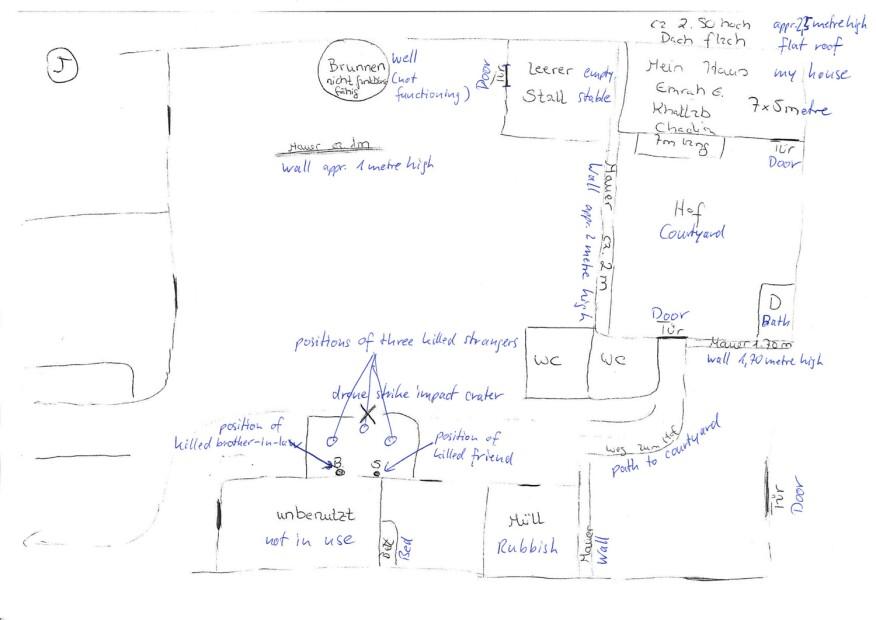 A sketch made by a survivor of a drone strike in Mir Ali, Pakistan
