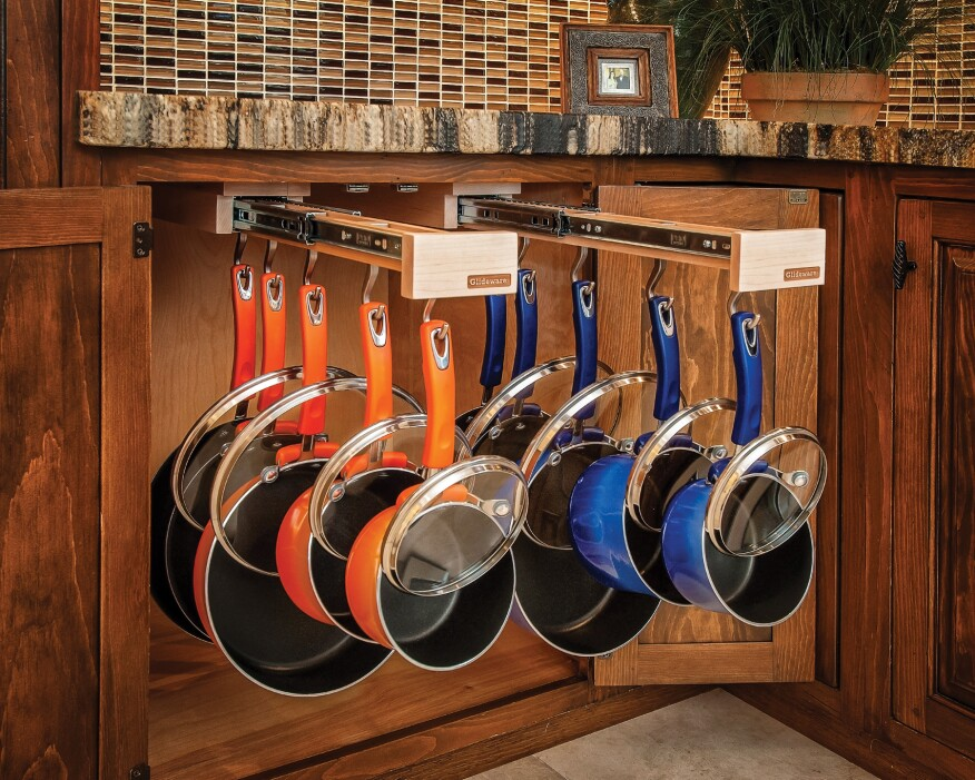 Help Your Clients Quiet The Clanging When They Pull Pots And Pans From Their Cabinets Glideware S Full Extension Out Hanging Racks Can Accommodate Up