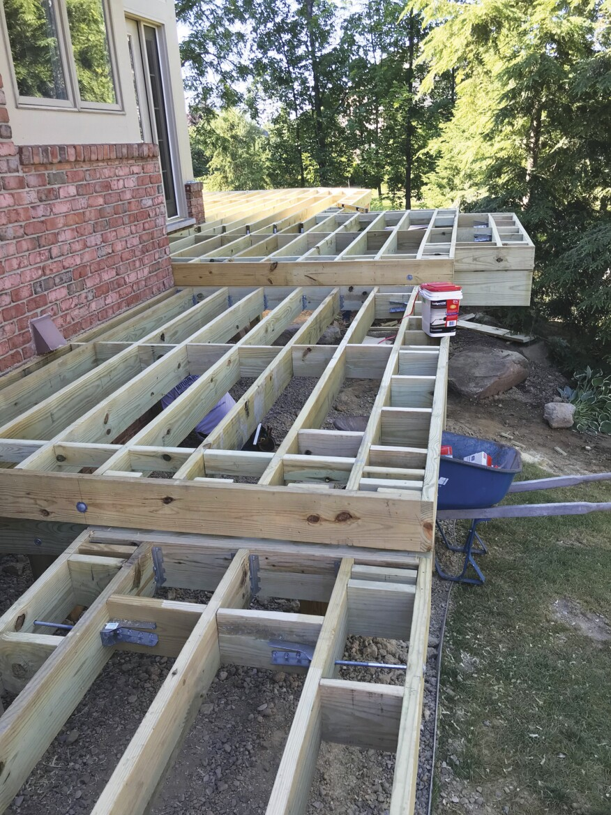 Vertical blocking reinforced with lateral-load brackets will provide support for picture-framed border decking while strengthening the rim joist.