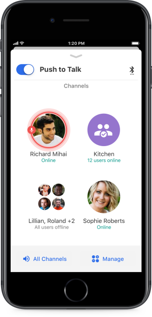 "Mobile App Includes Globally Connected ""Walkie Talkie"" Feature"