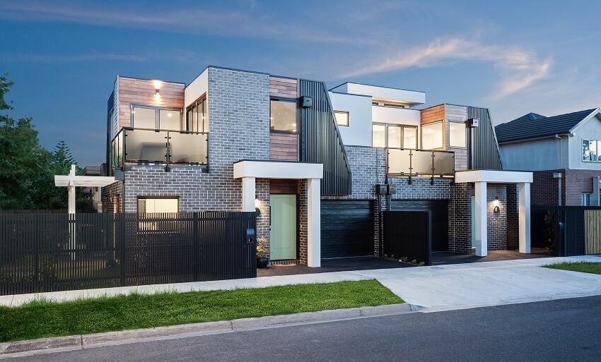 Double storey reversed living unit architect magazine for Dual occupancy home designs corner block