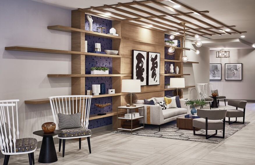 """Mary Cook Associates designed the interior spaces at the Oleander in Brookhaven, Ga., to be """"sophisticated, comfortable, and restorative,"""" in line with its location near a major medical center."""