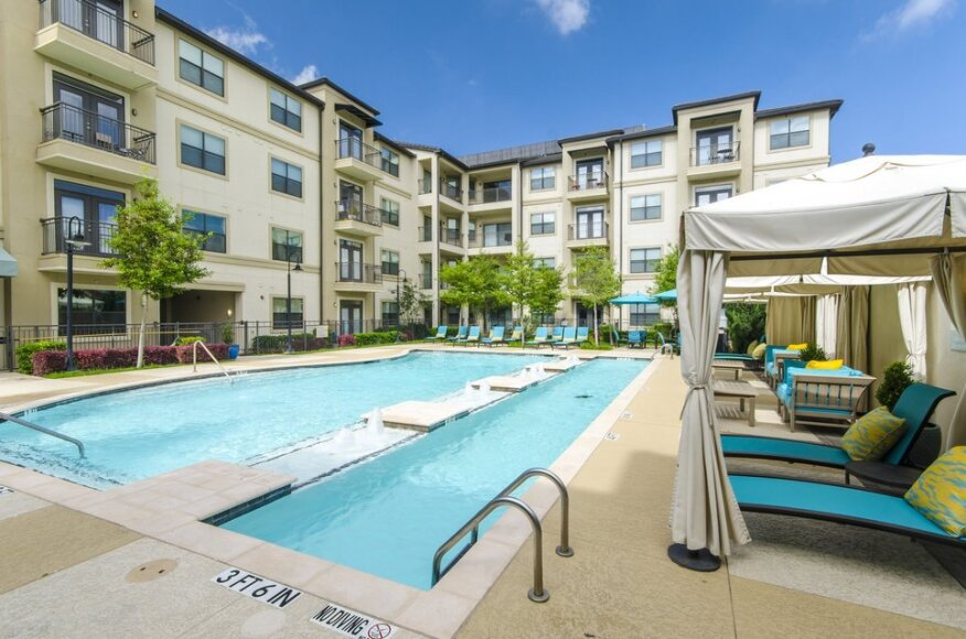 Resort-style pools at Cortland Partners' 15777 Quorum in Addison, Texas, offer cabanas and lounge areas that mimic tropical hotels and foster socializing among residents.