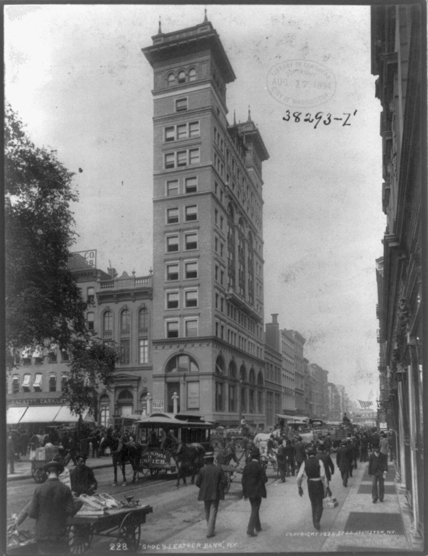 Le banc de chaussures et de cuir à New York, vers 1894