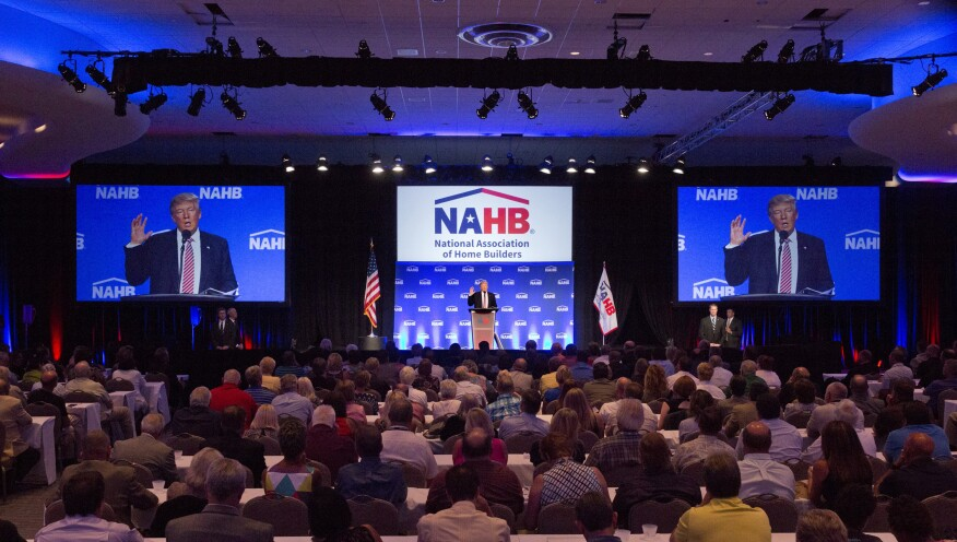 Donald Trump addresses NAHB members in Miami Beach, Fla., during his 2016 presidential campaign.