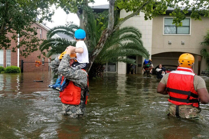 Texas National Guard soldiers arrive in Houston, Texas, to aid citizens in heavily flooded areas from the storms of Hurricane Harvey. Photo by Lt. Zachary West , 100th MPAD.