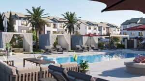 The Strand in West Sacramento, California, features a wealth of outdoor and indoor amenities for residents, including two resort-style pools with cabanas.