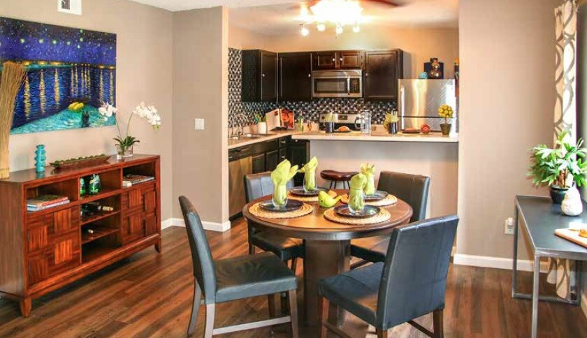 The dining room of a unit at Water Ridge Apartment Homes in Irving, Texas. The PPA Group, parent company of Casoro Capital, owns the property.